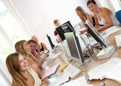 Students in computer room at Nice French Language School France.