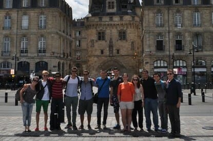 Students on a walking tour of Bordeaux, France