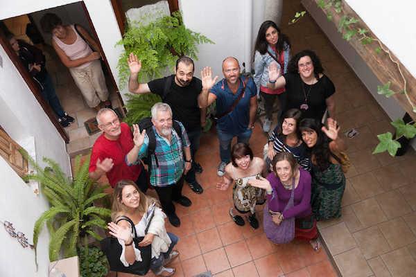 Students in Granada Spanish Language School, Courtyard. Spain.