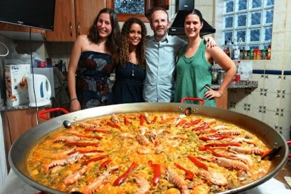 Paella in a host family kitchen. Spain.