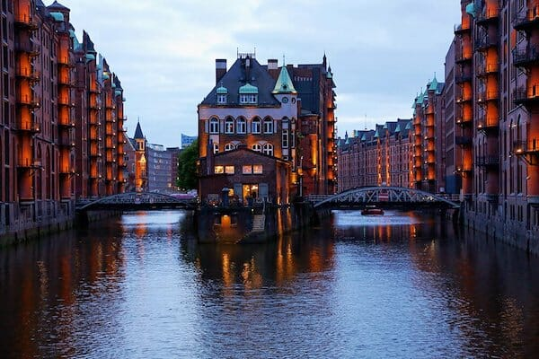 Two bridges in the Hafencity area of Hamburg over the rivers.