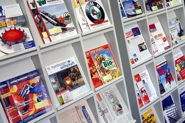 A display of German magazines at the language school in Hamburg.