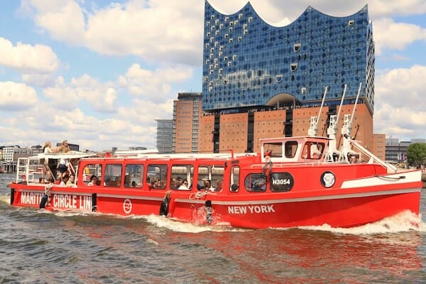 A riverboat but in front of the Elbphilharmonie in Hamburg, Germany