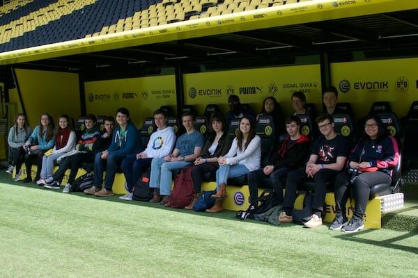 Work Experience Abroad Group at Borussia Dortmund Stadium Tour.