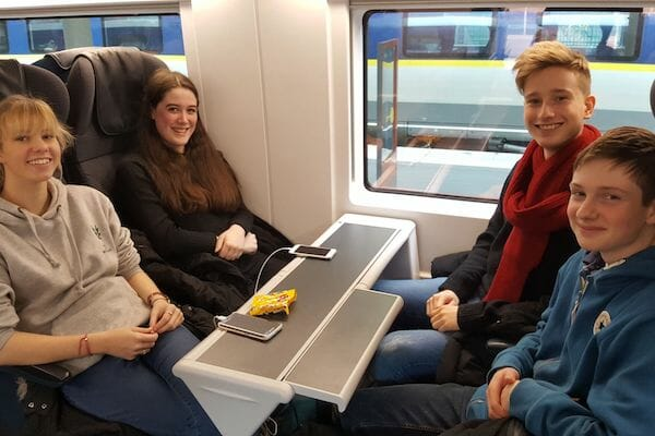 Work Experience Abroad Group on Eurostar on way to France