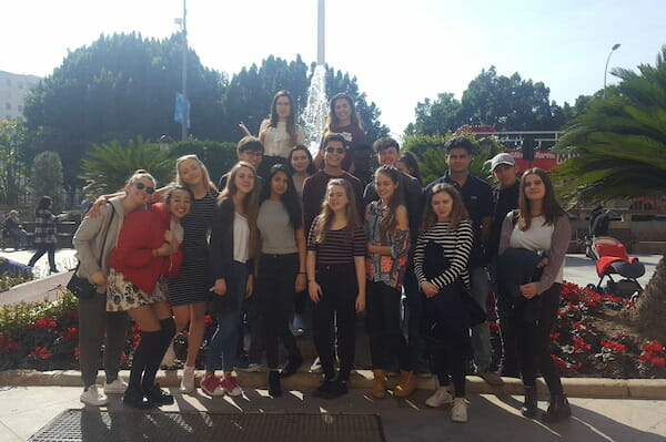 Work Experience Abroad Group in front of fountain